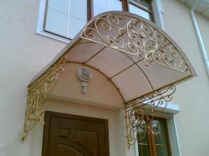 кованый навес над крыльцом золотого цвета фото 38