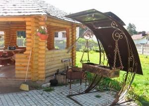 стационарный мангал с крышей художественная ковка