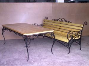 стол и скамейка от производителя ковка дерево