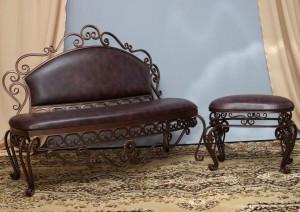 кованый диванчик и банкетка металл кожа