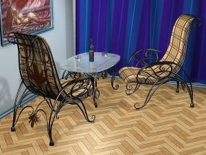 маленький журнальеый столик и 2 кресла  металл ковка