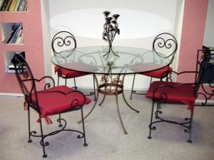 кованая мебель обеденный стол и стулья