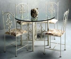 кованый стул и стулья белый комплект