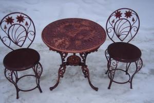 стол и 2 стула кованый комплект