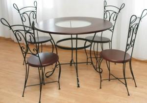 стол и стулья в столовую дерево металл ковка