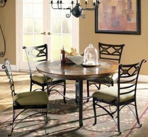 стол и 4 стула в столовую ковка дерево ткань