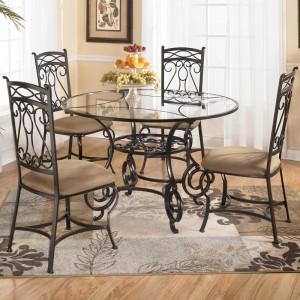 стол и стулья обеденный комплект металл стекло кожа
