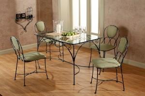 стол стекло металл и стулья в столовую