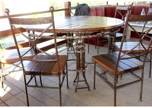 стол и стулья ковка дерево комплект на дачу
