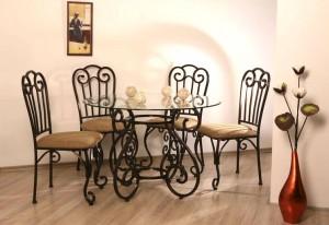 кованый стол и 4 стула в столовую