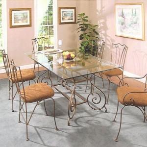 обеденный стол и стулья стекло ковка