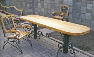 стол обеденный дерево ковка стулья