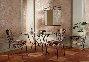 обденный стол и 2 мягких стула кованых