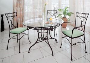 обеденный кованый стол и стулья