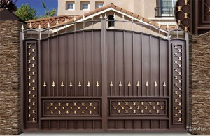 сварные ворота коричневые