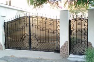 ворота с калиткой ковка поликарбонат