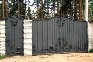 ворота распашные с калиткой глухие