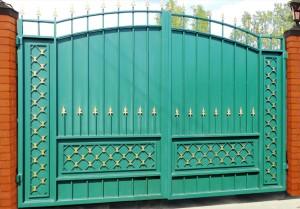 ворота сварные зеленые глухие